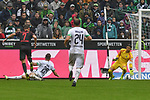 06.10.2019, Borussia-Park - Stadion, Moenchengladbach, GER, DFL, 1. BL, Borussia Moenchengladbach vs. FC Augsburg, DFL regulations prohibit any use of photographs as image sequences and/or quasi-video<br /> <br /> im Bild Florian Niederlechner (#7, FC Augsburg) macht das Tor zum 4:1<br /> <br /> Foto © nordphoto/Mauelshagen