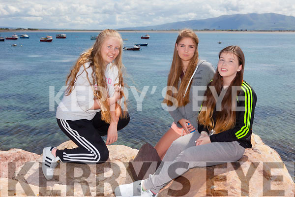 Lianne O'Grady, Andrea Quirke and Rebecca Crean all from Castlegregory  at the Maharees Regatta on Sunday