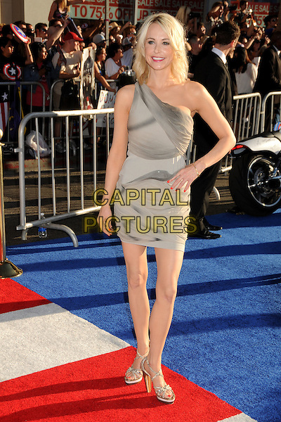 "Josie Bissett.""Captain America: The First Avenger"" Los Angeles Premiere held at the El Capitan Theatre, Hollywood, California, USA..July 19th, 2011.full length dress grey gray one shoulder hand on hip.CAP/ADM/BP.©Byron Purvis/AdMedia/Capital Pictures."