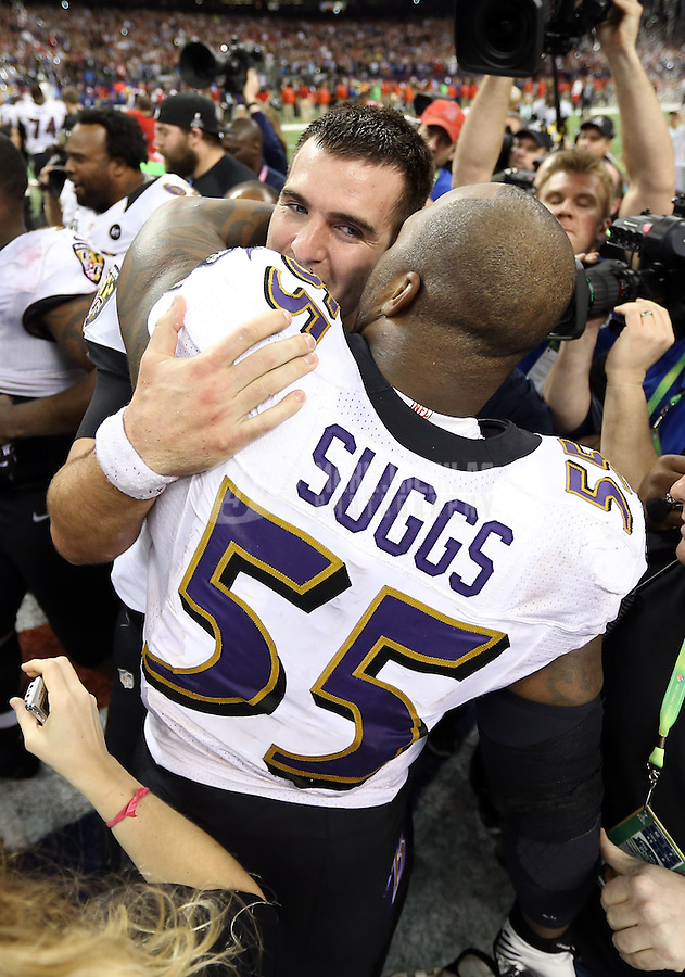Feb 3, 2013; New Orleans, LA, USA; Baltimore Ravens quarterback Joe Flacco (5) celebrates with outside linebacker Terrell Suggs (55) after defeating the Baltimore Ravens in Super Bowl XLVII at the Mercedes-Benz Superdome. Mandatory Credit: Mark J. Rebilas-