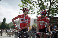 brothers Dennis Van Endert (BEL/Lotto-Soudal) &amp; Jelle Vanendert (BEL/Lotto-Soudal) rarely race together which makes this picture more rare then you'd expect<br /> <br /> Halle-Ingooigem 2015 <br /> start
