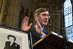 © Joel Goodman - 07973 332324 . 02/10/2017. Manchester, UK. JACOB REES-MOGG and a framed portrait of Margaret Thatcher , speaking at a fringe , right-wing Bruges Group event at Manchester Town Hall during the second day of the Conservative Party Conference at the Manchester Central Convention Centre . Photo credit : Joel Goodman
