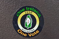 Sticker on a lampost One Ireland One Vote 1916 Societies