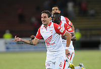 MEDELLÍN -COLOMBIA-20-04-2013.  Emanuel Molina de Santa Fe celebra un gol ante Medellín durante partido de la  fecha 12 del la Liga Postobón 2013-1 realizado en el estadio Atanasio Girardot de Medellín./   Emanuel Molina of Santa Fe celebrates a goal against Medellin during match of the12th date in the 2013-1 Postobon League at Atanasio Girardot stadium in Medellin.  Photo:VizzorImage/Luis Ríos/STR