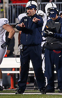 Penn State Nittany Lions head coach Bill O'Brien signals from the sideline during the second half of the NCAA football game against Ohio State at Ohio Stadium in Columbus on Oct. 26, 2013. (Adam Cairns / The Columbus Dispatch)