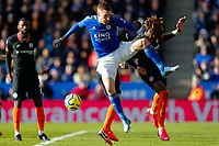 1st February 2020; King Power Stadium, Leicester, Midlands, England; English Premier League Football, Leicester City versus Chelsea; Jamie Vardy of Leicester City challenges Tammy Abrahams of Chelsea
