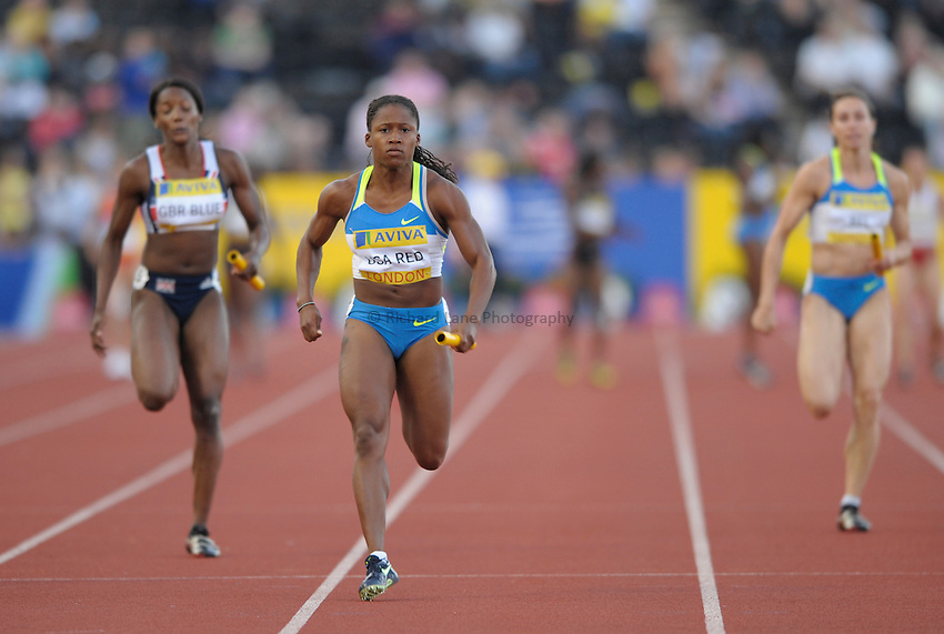Photo: Ady Kerry/Richard Lane Photography. .Aviva London Grand Prix, Crystal Palace. 25/07/2008. .USA Red's Lauryn Williams heads home to win the women's 4x100m relay.
