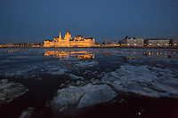 Ice blocks float on the surface of river Danube in front of the houses of the Parliament in Budapest, Hungary on January 08, 2017. ATTILA VOLGYI