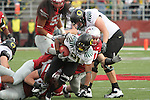 Oregon running back, LaMichael James (#21), picks up yardage up the middle during the Ducks Pac-10 conference game against the Washington State Cougars at Martin Stadium in Pullman, Washington, on October 9, 2010.  In a game that went back and forth early in to the fourth quarter, Oregon finally prevailed over the Cougars, 43-23.