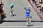 Julian Alaphilippe (FRA) Deceuninck-Quick Step wins Strade Bianche 2019 with Jakob Fuglsang (DEN) Astana Pro Team behind, running 14km from Siena to Siena, held over the white gravel roads of Tuscany, Italy. 9th March 2019.<br /> Picture: Eoin Clarke | Cyclefile<br /> <br /> <br /> All photos usage must carry mandatory copyright credit (© Cyclefile | Eoin Clarke)