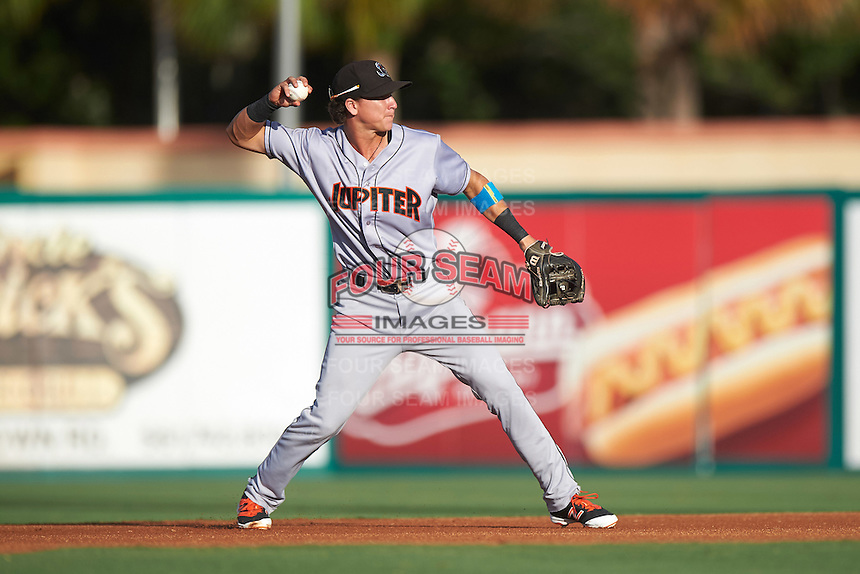 Jupiter Hammerheads second baseman Brian Schales (11) throws to first during a game against the Palm Beach Cardinals on August 12, 2016 at Roger Dean Stadium in Jupiter, Florida.  Jupiter defeated Palm Beach 9-0.  (Mike Janes/Four Seam Images)