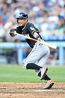 05/13/15 Los Angeles, CA: Miami Marlins left fielder Ichiro Suzuki #51 during an MLB game played at Dodger Stadium between the Miami Marlins and The Los Angeles Dodgers. The Marlins defeated the Dodgers 5-4