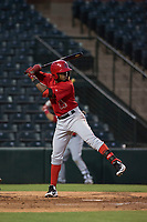 AZL Angels second baseman Jose Verrier (4) at bat during an Arizona League game against the AZL Indians 2 at Tempe Diablo Stadium on June 30, 2018 in Tempe, Arizona. The AZL Indians 2 defeated the AZL Angels by a score of 13-8. (Zachary Lucy/Four Seam Images)