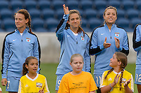 Chicago, IL - Saturday July 30, 2016: Stephanie McCaffrey prior to a regular season National Women's Soccer League (NWSL) match between the Chicago Red Stars and FC Kansas City at Toyota Park.