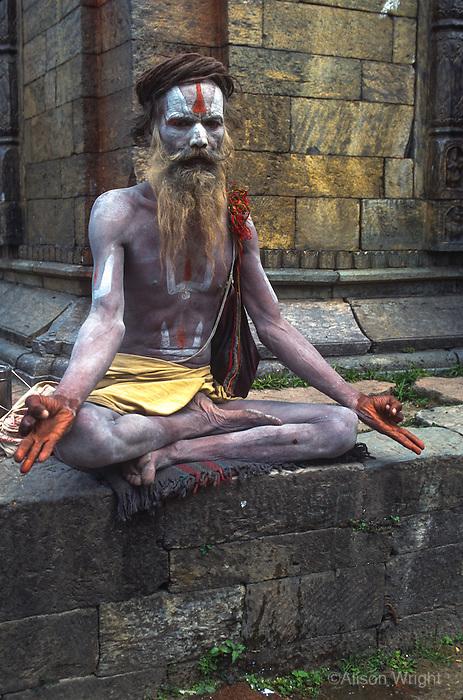 Sadhus at Pashupatinath temple on the Bagmati River.