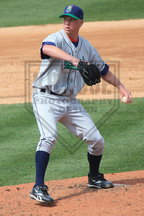 APPLETON - APRIL 2010: Buddy Boshers of the Cedar Rapids Kernels, Class-A affiliate of the Los Angeles Angels of Anaheim, in action during a game on April 21, 2010 at Fox Cities Stadium in Appleton, Wisconsin. (Photo by Brad Krause)