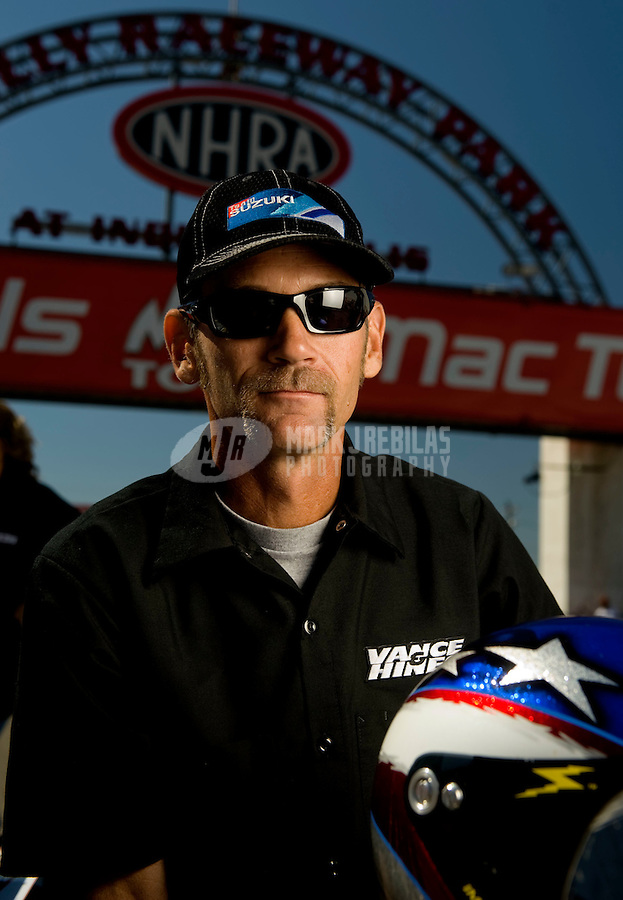 Sept. 5, 2010; Clermont, IN, USA; NHRA pro stock motorcycle rider Chip Ellis during qualifying for the U.S. Nationals at O'Reilly Raceway Park at Indianapolis. Mandatory Credit: Mark J. Rebilas-