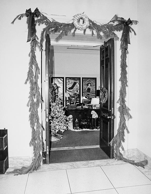 Decorated Congressman's office doorway around Christmas. (Photo by CQ Roll Call via Getty Images)