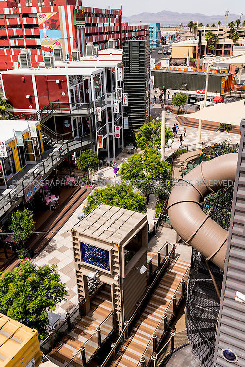 5/13/2015&mdash;Las Vegas, Nevada, USA<br /> <br /> Downtown Container Park is an exciting sustainable shopping attraction in downtown Las Vegas -- the hub for an assortment of small boutiques, galleries, bars, eateries and outdoor spaces as well as entertainment and education programming. <br /> <br /> <br /> Photograph by Stuart Isett<br /> &copy;2014 Stuart Isett. All rights reserved.