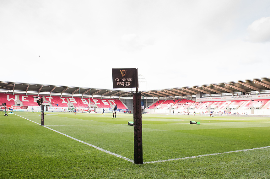 A general view of Parc Y Scarlets, home of Scarlets showing flags<br /> <br /> Photographer Simon King/CameraSport<br /> <br /> Guinness Pro14 Round 1 - Scarlets v Southern Kings - Saturday 2nd September 2017 - Parc y Scarlets - Llanelli, Wales<br /> <br /> World Copyright &copy; 2017 CameraSport. All rights reserved. 43 Linden Ave. Countesthorpe. Leicester. England. LE8 5PG - Tel: +44 (0) 116 277 4147 - admin@camerasport.com - www.camerasport.com