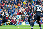 10th September 2017, Turf Moor, Burnley, England; EPL Premier League football, Burnley versus Crystal Palace; Ashley Barnes of Burnley shoots and curls the ball towards goal