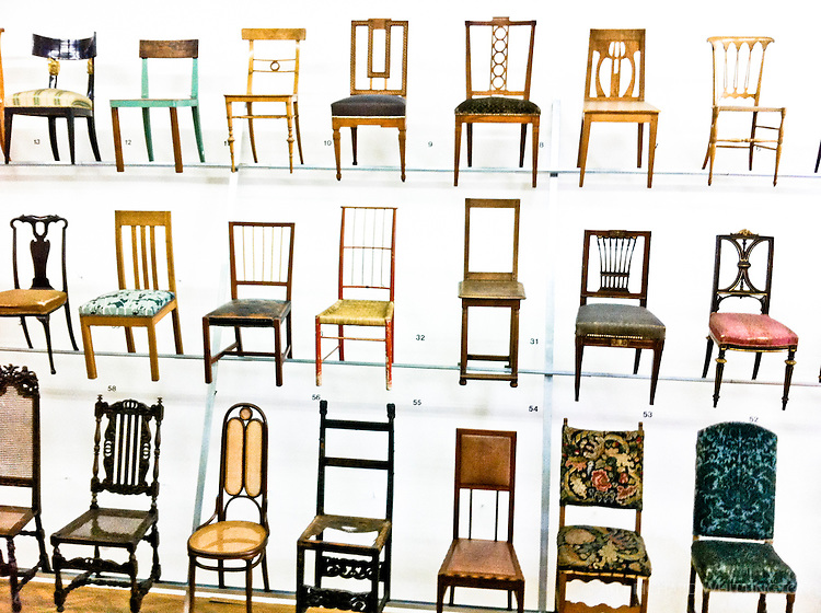 The Austrian Museum of Applied Arts has astounding collections of furniture, glass, ceramics, paper, and metalworks. My favorite exhibit was this wall of chairs.