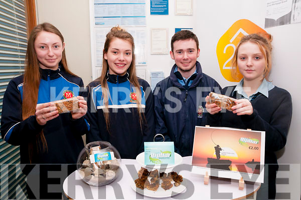 Student Enterprise Project : Students from St. Joseph's Secondary School, Ballybunion who will represent Kerry  in the final of the senior category of the Student Enterprise Awards in Croke Park Wednesday 20th April with their seaweed protein bar pictured selling their product at Bnk Of Ireland, Listowel on Friday last. L - R: Tara O'Shea, Allannah Whelan, Conor McGrath & Lorna O'Leary. Missing is Maria Stack.