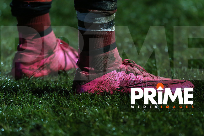 General view of pink rugby boots during the Greene King IPA Championship match between London Scottish Football Club and Jersey Reds at Richmond Athletic Ground, Richmond, United Kingdom on 16 March 2018. Photo by David Horn.