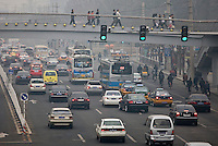 Footbridge over traffic on Beijing main street, China