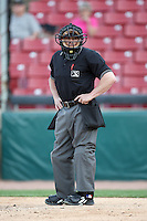 April 17 2010: Home plate umpire Jeff Klinghoffer at Elfstrom Stadium in Geneva, IL. Photo by: Chris Proctor/Four Seam Images