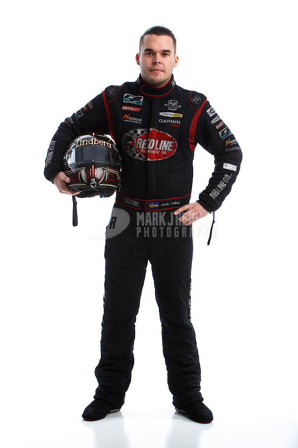 Feb 8, 2017; Pomona, CA, USA; NHRA funny car driver Jonnie Lindberg poses for a portrait during media day at Auto Club Raceway at Pomona. Mandatory Credit: Mark J. Rebilas-USA TODAY Sports