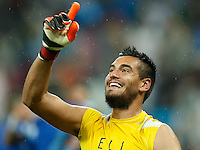 Goalkeeper Sergio Romero of Argentina celebrates going through to the World Cup final