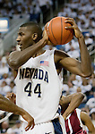 March 1, 2012: Nevada Wolf Pack forward Dario Hunt rebounds agianst the New Mexico State Aggies during their NCAA basketball game played at Lawlor Events Center on Thursday night in Reno, Nevada.