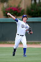 Grant Holmes #45 of the AZL Dodgers warms up before pitching against the AZL Padres at Camelback Ranch on July 8, 2014 in Glendale, Arizona. (Larry Goren/Four Seam Images)