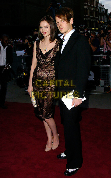 SOPHIE ELLIS BEXTOR & RICHARD JONES.The GQ Men of the Year Awards, Royal Opera House, London, UK..September 5th, 2006.Ref: CAN.full length black suit brown dress pattern husband wife married.www.capitalpictures.com.sales@capitalpictures.com.©Can Nguyen/Capital Pictures