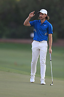 Tommy Fleetwood (ENG) on the 18th during the 3rd round of the DP World Tour Championship, Jumeirah Golf Estates, Dubai, United Arab Emirates. 23/11/2019<br /> Picture: Golffile | Fran Caffrey<br /> <br /> <br /> All photo usage must carry mandatory copyright credit (© Golffile | Fran Caffrey)