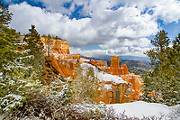 winter snow on red rocks, Bryce Canyon National Park, Utah, USA