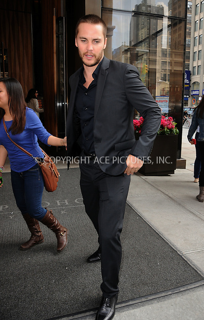WWW.ACEPIXS.COM . . . . .  ....May 16 2012, New York City....Actor Taylor Kitsch leaves a Soho hotel on May 16 2012 in New York City....Please byline: CURTIS MEANS - ACE PICTURES.... *** ***..Ace Pictures, Inc:  ..Philip Vaughan (212) 243-8787 or (646) 769 0430..e-mail: info@acepixs.com..web: http://www.acepixs.com