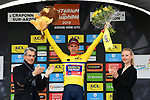 Dylan Teuns (BEL) Bahrain-Merida wins Stage 2 and takes over the race leaders Yellow Jersey of the Criterium du Dauphine 2019, running 180km from Mauriac to Craponne-sur-Arzon, France. 9th June 2019<br /> Picture: ASO/Alex Broadway | Cyclefile<br /> All photos usage must carry mandatory copyright credit (© Cyclefile | ASO/Alex Broadway)