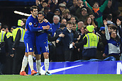 5th November 2017, Stamford Bridge, London, England; EPL Premier League football, Chelsea versus Manchester United; Alvaro Morata of Chelsea celebrates with Eden Hazard of Chelsea after scoring making it 1-0