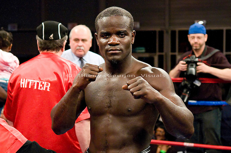 Brooklyn, NY - 04.03.2008: Joshua Clottey in the ring after his 10 rounds super welterweight fight against  Jose Luis Cruz at the Aviator Sports & Recreational Center. IBF #1 Clottey won by tko in the fifth round. Photo by Thierry Gourjon