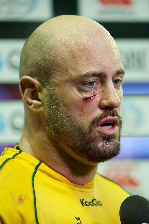 Nathan Sharpe of Australia shows the scars of battle after the Cook Cup between England and Australia, part of the QBE International series, at Twickenham on Saturday 17th November 2012 (Photo by Rob Munro)