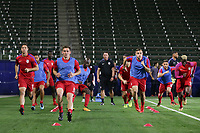 Carson, CA - Sunday January 28, 2018: Matt Polster, Wil Trapp, Jordan Morris prior to an international friendly between the men's national teams of the United States (USA) and Bosnia and Herzegovina (BIH) at the StubHub Center.