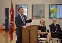 NWA Democrat-Gazette/BEN GOFF @NWABENGOFF<br /> Greg Bledsoe, Arkansas surgeon general, speaks as Miss America Savvy Shields of Fayetteville and Gov. Asa Hutchinson look on, Monday, May 1, 2017, during a presentaiton with Gov. Asa Hutchinson at Fulbright Junior High in Bentonville to kick off a new initiative called 'Healthy Active Arkansas.'