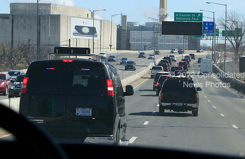United States President Obama and First Lady Michelle Obama motor cade to Joint Base Andrews due to a lockdown at the White House in Washington, DC on March 7, 2015.<br /> Credit: Dennis Brack / Pool via CNP