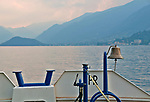 Ferry boat and view of Lake Como, Italy at sunset