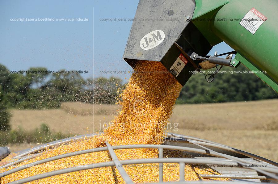 USA, Nebraska, Omaha Reservation, Omaha Nations Farm,  corn harvest with John Deere combine harvester, corn is used as fodder for cattle feedlot