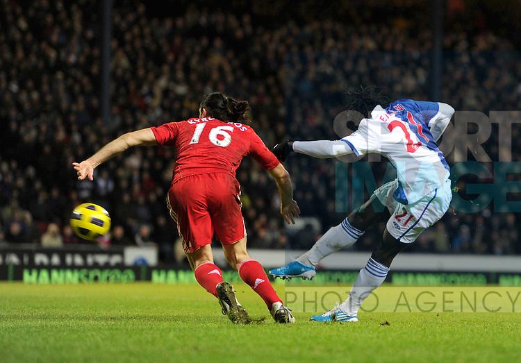 Benjani Mwaruwari of Blackburn Rovers scores the second goal