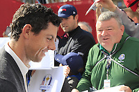 Rory McIlroy (NIR) Team Europe signs autographs for fans during Thursday's Practice Day of the 41st RyderCup held at Hazeltine National Golf Club, Chaska, Minnesota, USA. 29th September 2016.<br /> Picture: Eoin Clarke | Golffile<br /> <br /> <br /> All photos usage must carry mandatory copyright credit (&copy; Golffile | Eoin Clarke)
