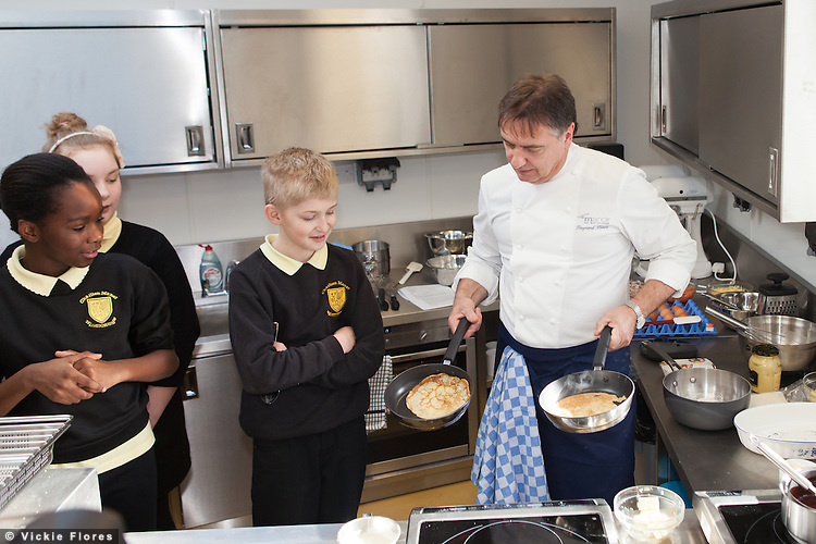 Chef Raymond Blanc opened the new teaching kitchen at Charlton Manor Primary School in South East London on 15 February 2013 and gave a cooking demonstration to the children.